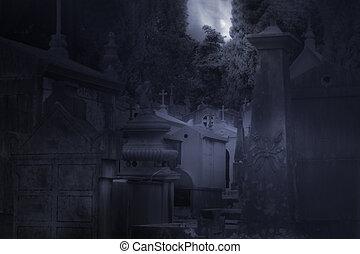 nebbioso, pieno, cimitero, luna, notte