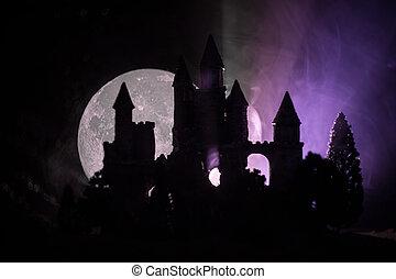 nebbioso, stile, pieno, vecchio, medievale, moon., gotico, notte, misterioso, castello, abbandonato