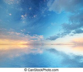 nebe, grafické pozadí., komponování, o, nature.