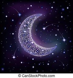 nebe, hvězdnatý, ilustrace, měsíc, vektor, večer