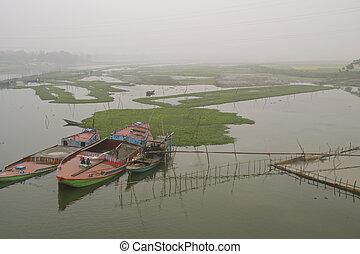 nebel, in, bangladesch