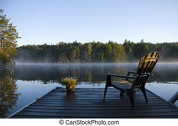 nebel, morgen, bucht