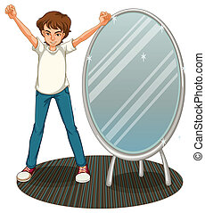 stehende junge neben spiegel stehende junge clipart vektor suche illustration. Black Bedroom Furniture Sets. Home Design Ideas