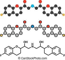 Nebivolol beta blocker drug molecule. Used to treat high blood pressure (hypertension)