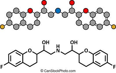 Nebivolol beta blocker hypertension drug, chemical structure.