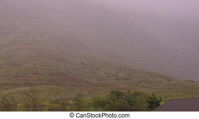 neblig, berg, in, irland