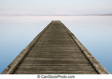 neblig, zen, landungsbrücke, see