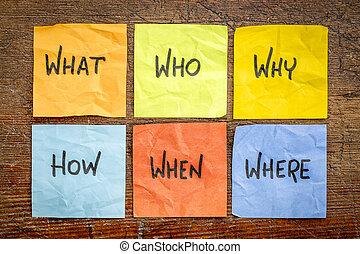 nebo, dělání, rozhodnutí, dotazy, brainstorming