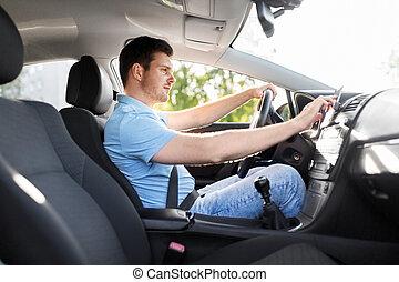 nebo, pouití, voják, vůz, gps, navigátor, hnací, šofér