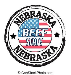 Grunge rubber stamp with flag and the text Nebraska, Beef State, vector illustration