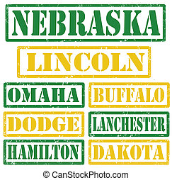 Nebraska Cities stamps - Set of Nebraska cities stamps on...