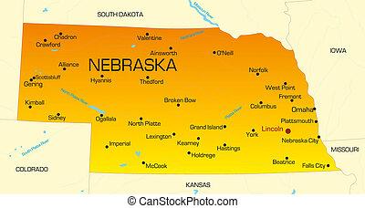 Nebraska - color map of Nebraska state. Usa