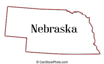 Nebraska - Outline of the US state of nebraska over a white...
