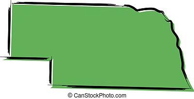 nebraska, estilizado, mapa, bosquejo, verde