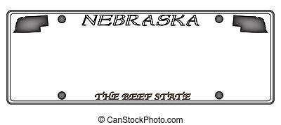Nebraska License Plate - A Nebraska state license plate...