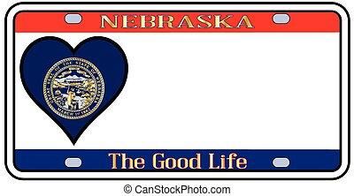 Nebraska License Plate - Nebraska state license plate in the...