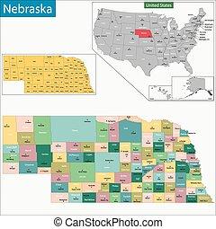 Nebraska map - Map of Nebraska state designed in...