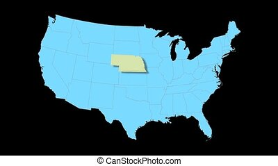 Nebraska Map Zooms Out of USA