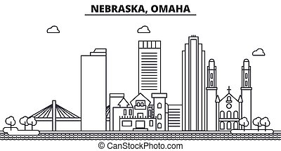 Nebraska, Omaha architecture line skyline illustration....