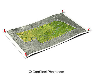 Nebraska on unfolded map sheet with thumbtacks. Map colored according to vegetation, with borders and major urban areas. Includes clip path for the background. Map projection: Mercator ; Geographic extents: W: -105.0; E: -94.5; S: 39.0; N: 44.0
