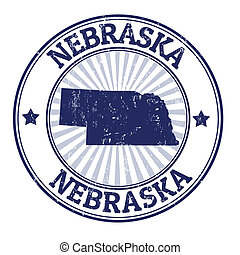Grunge rubber stamp with the name and map of Nebraska, vector illustration