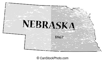 A grunged Nebraska state outline with the date of statehood isolated on a white background