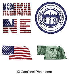 Nebraska state collage (map, stamp,word,abbreviation) in...