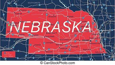 Nebraska state detailed editable map
