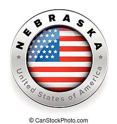 Nebraska Usa flag badge button vector