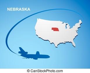 Nebraska on USA map