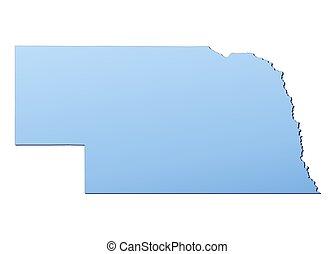 Nebraska(USA) map filled with light blue gradient. High resolution. Mercator projection.