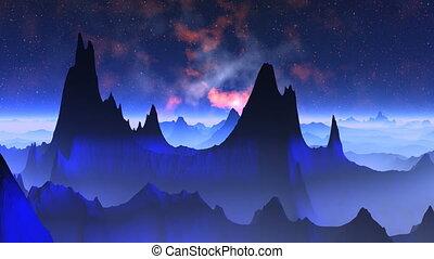 Nebula against a fantastic landscap