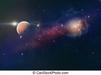Nebula and planet with asteroids in space