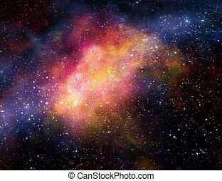 nebula, gas, wolk, in, buitenste ruimte