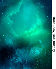 Nebula - green fog space starfield nebula and planet