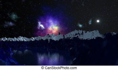 Nebula is reflected in the mountain