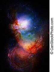 nebula, kosmisch, ruimte, en, sterretjes, blauwe , kosmisch, abstract, achtergrond., communie, van, dit, beeld, gemeubileerd, door, nasa.