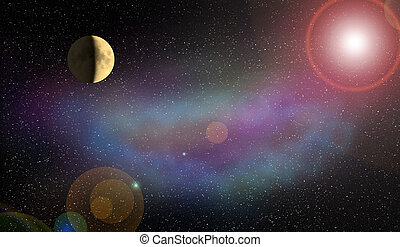 nebula Moon and flash of the planet in the space