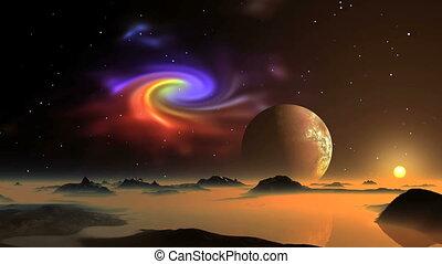 Nebula, Sunrise and Alien Planet