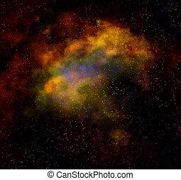 nebula, wolk, in, buitenste ruimte