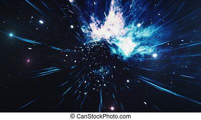 nebulae., 変形, tunnel., fiction., スペース, 科学, 旅行, wormhole, hyperspace, hole., 渦, によって, イラスト, 星, 時間, 黒, 3d, 満たされた, millions