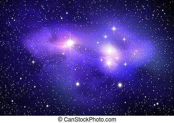 nebulosa, colorido, espacio