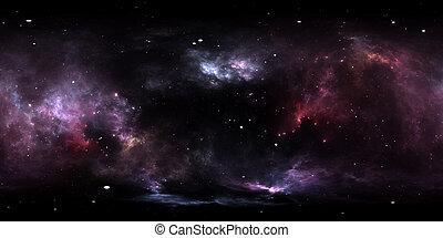 nebulosa, encendido, ambiente, stars., nebulosa, grado, equirectangular, map., gas., plano de fondo, interestelar, espacio, hdri, polvo, 360, esférico, panorama, proyección, nube