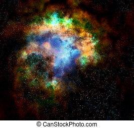nebulosa, exterior, nube, estrellas, espacio