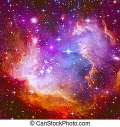 nebulosa, fiammeggiante, stella