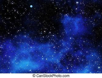 nebulosa, gas, nube, en, espacio exterior