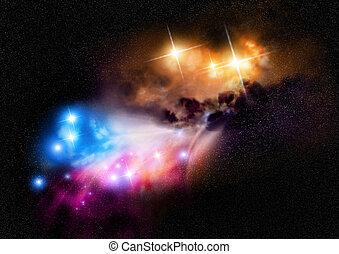 nebulosa, profondo, spazio