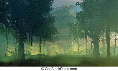 nebuloso, anoitecer, escuro, floresta, alvorada, ou