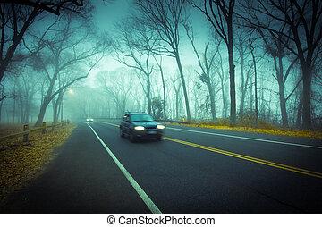 nebuloso, conduzir