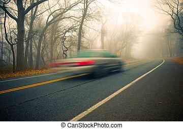 nebuloso, conduzir, manhã